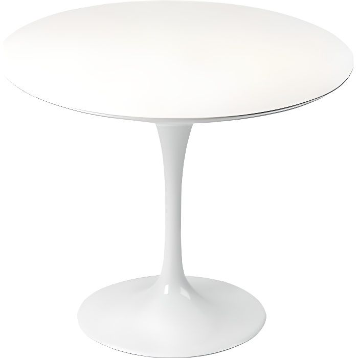 Table design ronde 90cm blanche tulipe achat vente for Table a manger ronde design