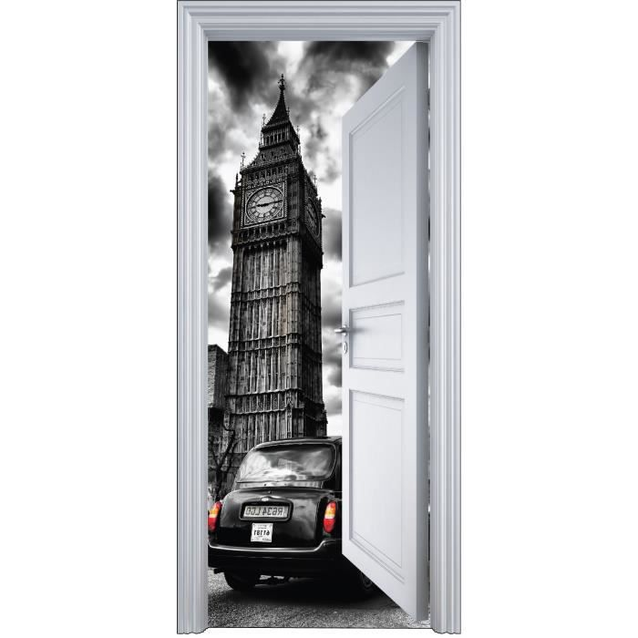 sticker porte trompe l 39 oeil big ben 90x200cm achat vente stickers vinyl carton cadeaux de. Black Bedroom Furniture Sets. Home Design Ideas