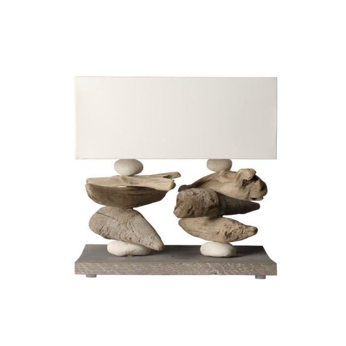 lampe poser en bois flott lugger blanc achat vente lampe poser en bois flott cdiscount. Black Bedroom Furniture Sets. Home Design Ideas