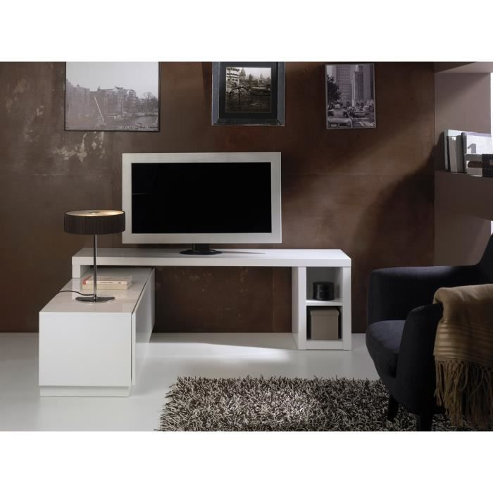 meuble tv modulable aina laqu blanc achat vente. Black Bedroom Furniture Sets. Home Design Ideas