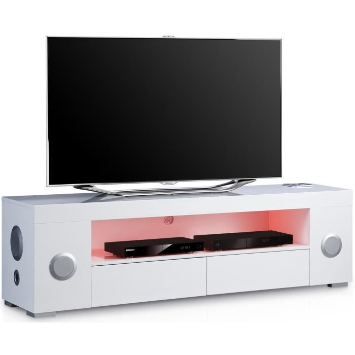 meuble tv lumineux blanc avec syst me audio achat vente meuble tv meuble tv lumineux blanc. Black Bedroom Furniture Sets. Home Design Ideas
