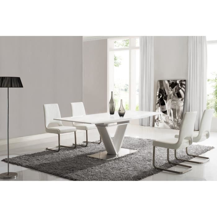 Table salle manger coloris blanc laqu achat vente for Table a manger blanc