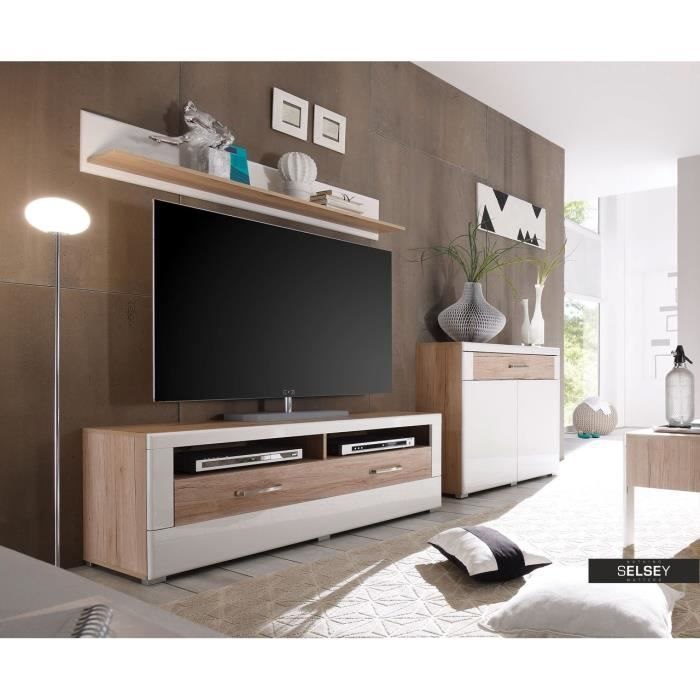 meuble tv teinte 140 cm achat vente meuble tv meuble tv teinte 140 cm cdiscount. Black Bedroom Furniture Sets. Home Design Ideas