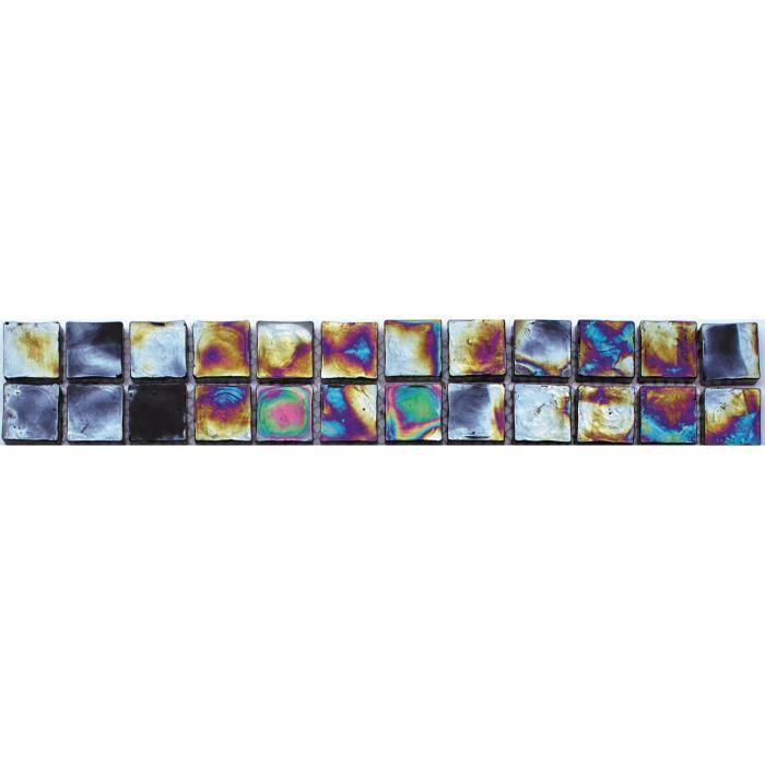 CARRELAGE - PAREMENT Listel en pate de verre - 5 x 30 cm - Nuit Boréal