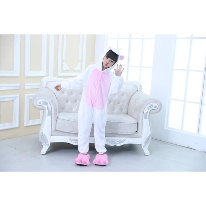 Calendrier De Lavent Fille 10 Ans.Fille Flanelle Licorne Animal Onesies Pyjama Onepiece Cosplay Costume Rose Blanc 8 10 Ans Taille 145 Cm