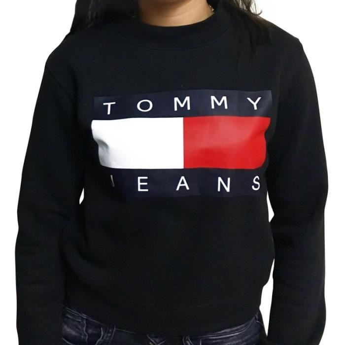 pull tommy hilfiger femme 90 39 s noir noir achat vente sweatshirt soldes d s le 10 janvier. Black Bedroom Furniture Sets. Home Design Ideas