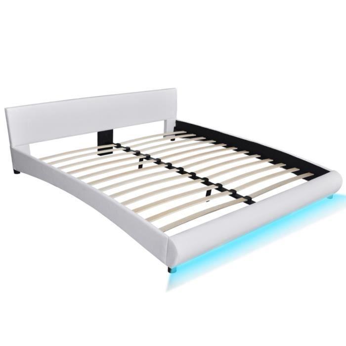 STRUCTURE DE LIT Lit en cuir artificiel blanc avec bande LED 180 x
