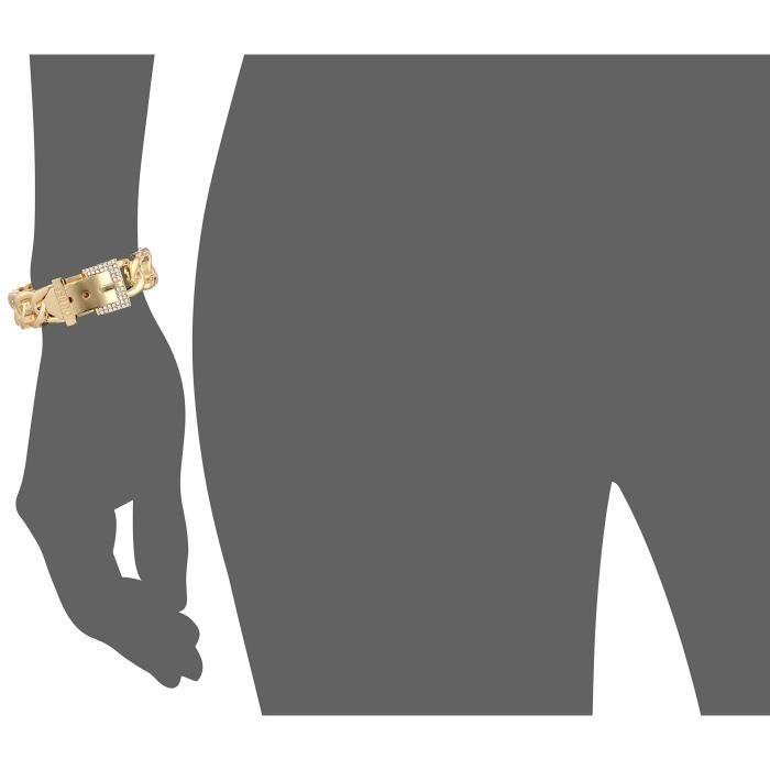 Guess Basic Gold And Crystal Frozen Link Buckle Cuff Bracelet Q2D1O