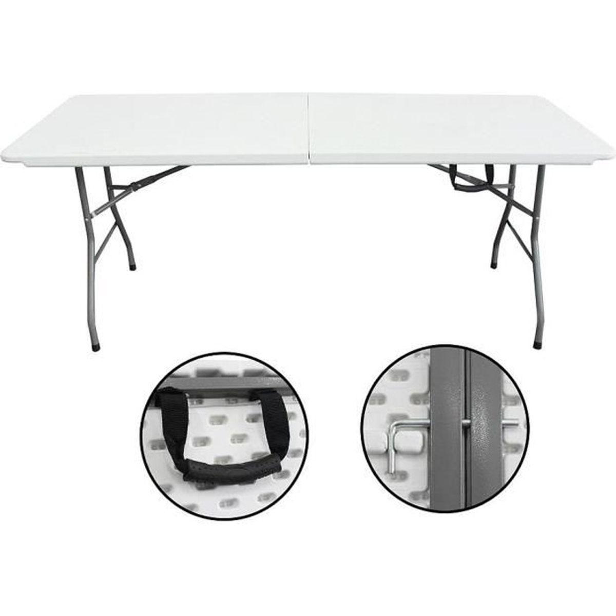 TABLE DE JARDIN  Table en Plastique Robuste, Table Pliante Transpor