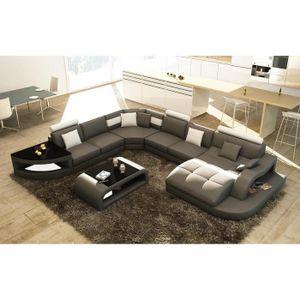 CANAPÉ - SOFA - DIVAN Canapé d'angle design panoramique gris et blanc IS
