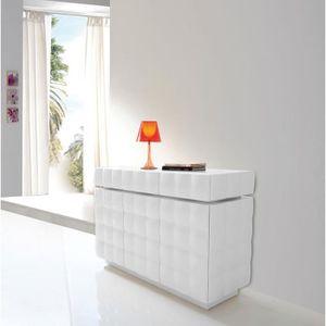 BUFFET - BAHUT  Buffet bahut blanc laqué 3 portes 3 tiroirs design