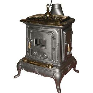 POÊLE À BOIS Poêle à bois en fonte et laiton 6KW noir chauffage