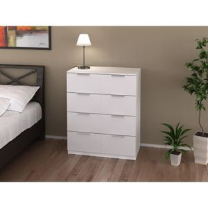 COMMODE DE CHAMBRE Commode blanche 80 cm collection ARADA 8 tiroirs -