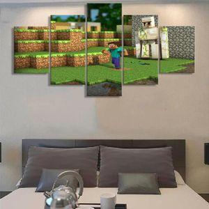 Non Encadré5 Pièces Minecraft Jeu Peinture Moderne Hd