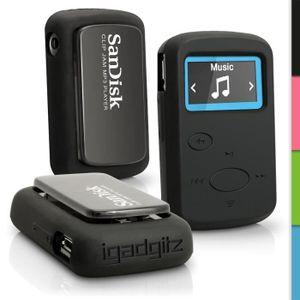 COQUE MP3-MP4 igadgitz Noir Étui Housse Silicone pour Sandisk Sa