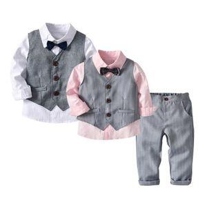 Ensemble de vêtements 4pc Tout-petit bébé garçon Bowtie Gentleman Gilet