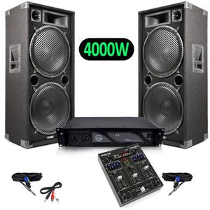 PACK SONO Pack Sono Enceintes 4000W + Table de mixage 4 cana