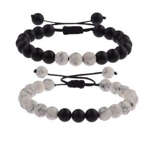 Bracelet Distance pour Couple avec Boite Cadeau Famille Onyx Amis Pierres Semi pr/écieuse en Agate Noire STRASS /& PAILLETTES Paire de Bracelets pour Amoureux // Howlite Blanc