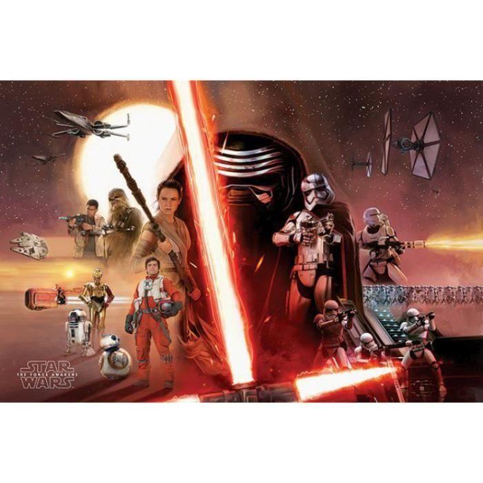 Poster Star Wars Le Réveil De La Force épisode Vii Galaxie 61 X 91 Cm