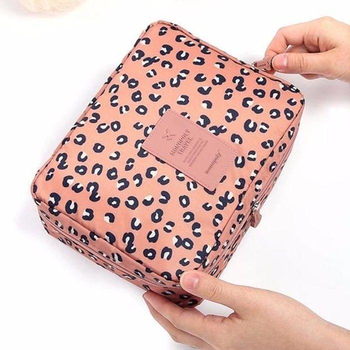 Pochette sac de maquillage cosmétiques clair kit de voyage de toilette Organisateur Léopard