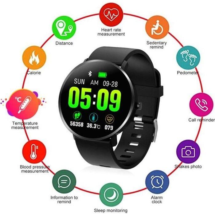 Montre connectée F25T IP67 montre intelligente hommes température corporelle fréquence cardiaque Bluetooth Traqueur Fitness Noir DN1