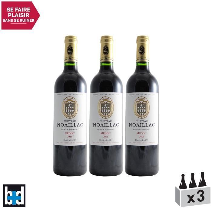 Château Noaillac Rouge 2016 - Lot de 3x75cl - Appellation AOC Médoc - Vin Rouge de Bordeaux - 15-20 Bettane Desseauve - Cépages