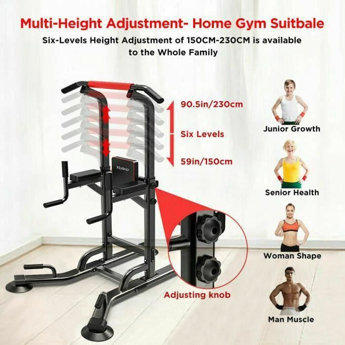 YOLEO Chaise Romaine Station Traction dips Multifonctions Barre de Traction dips Banc de Musculation Power Tower