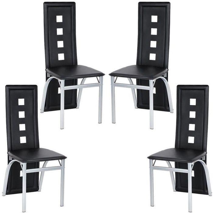 Lot de 4 Chaises en Cuir artificiel Noir- Design Scandinave - Salle Salle à Manger, Salon, Cuisine