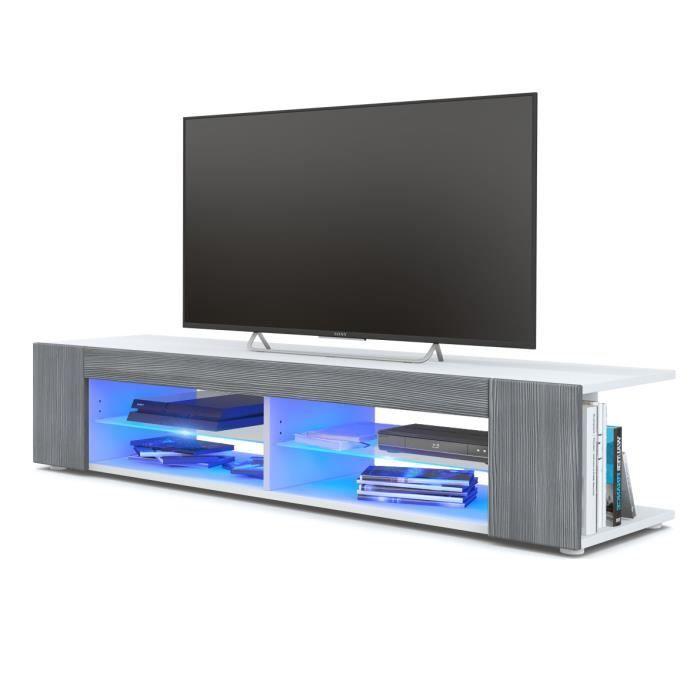 Meuble TV Armoire basse Movie, Corps en Blanc mat - Façades en Avola-Anthracite avec l'éclairage LED en Bleu
