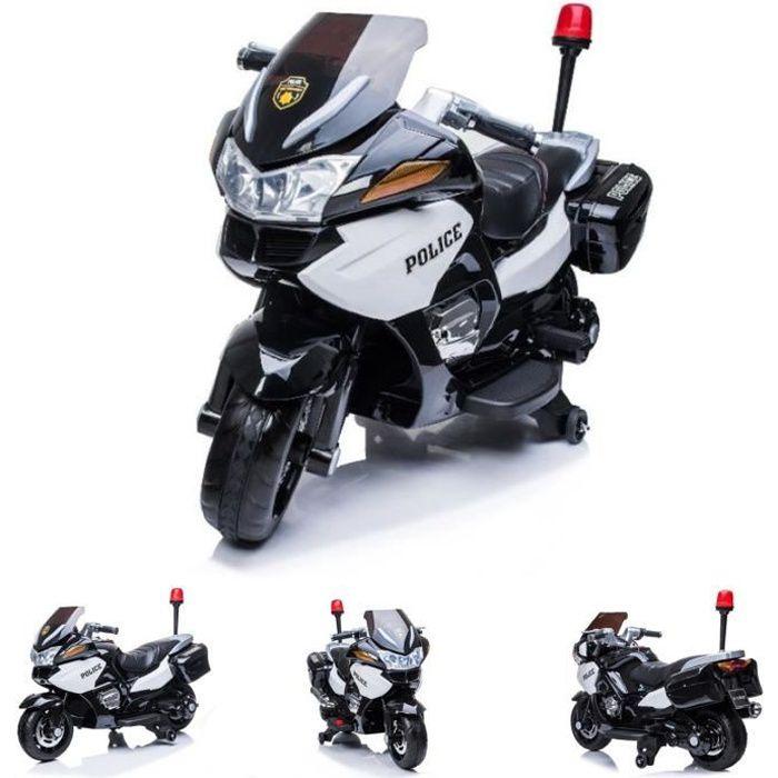 ES-Toys moto électrique enfants tricycle police design 118 lampe d'alarme sirène