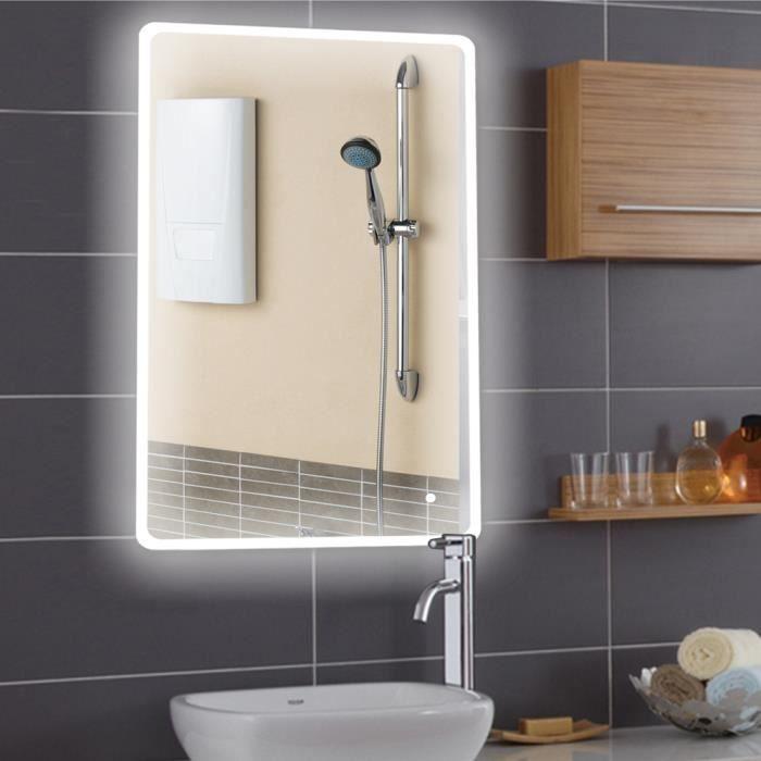 LUXS NOUVEAU design Miroir de salle de bains avec LED éclairage 70x120cm Hi-Tech Miroir mural