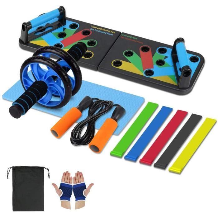 Abdominale Appareils de Fitness,Kit Musculation 4 pièces-Élastique Sport Bandes,Push Up Board 13 en1,Corde à Sauter Adulte