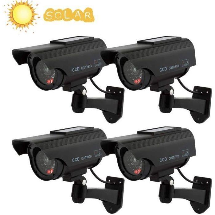 Caméras factices avec Panneau Solaire 4 Pack Fausse de Sécurité Caméra CCTV avec LED Lumière pour Usage Intérieur Extérieur Noir