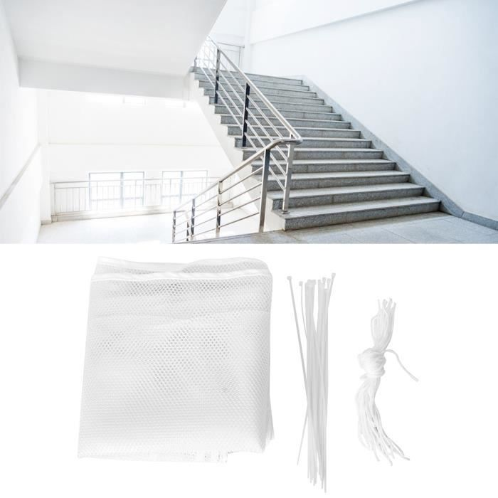 3 mètres de filet de sécurité escaliers animaux compagnie garde-corps maille prévention accidents (blanc)