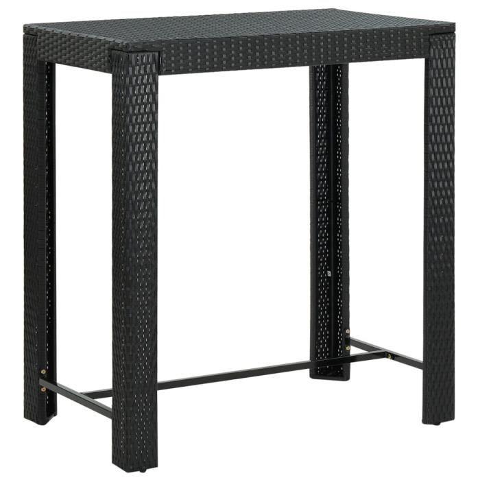 :)61888 GRAND Table de bar Table haute ECONOMIQUE - Mange-Debout Noir 100x60,5x110,5 cm Résine tressée