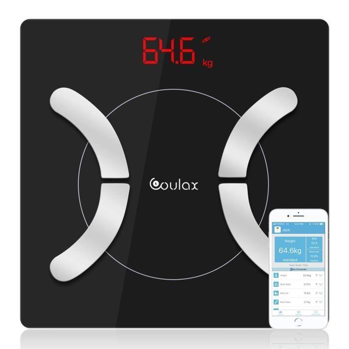 Coulax Pèse Personnes Balance connectée Impédancemètre numérique intelligent Bluetooth avec analyse de la composition corporelle