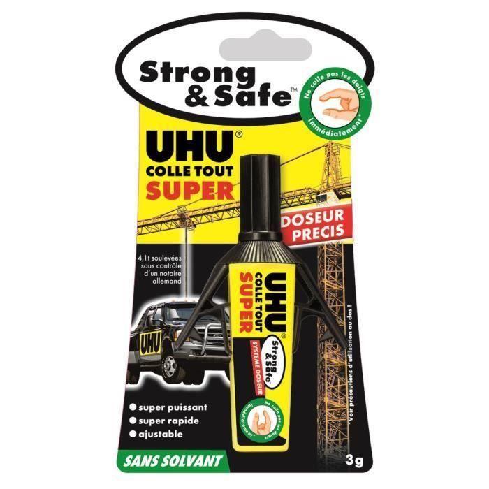 UHU Strong & Safe Sans Solvant Doseur 3g (Lot de 3)