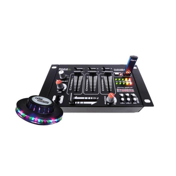 Table de mixage 4 voies 7 entrées USB/BLUETOOTH + UFO à LEDs RVB