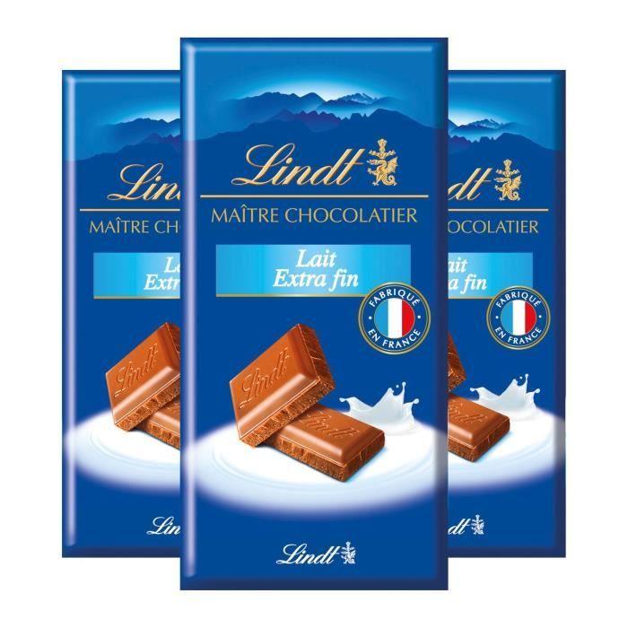 LINDT Chocolat au lait Extra fin - 3 tablettes de 100 g