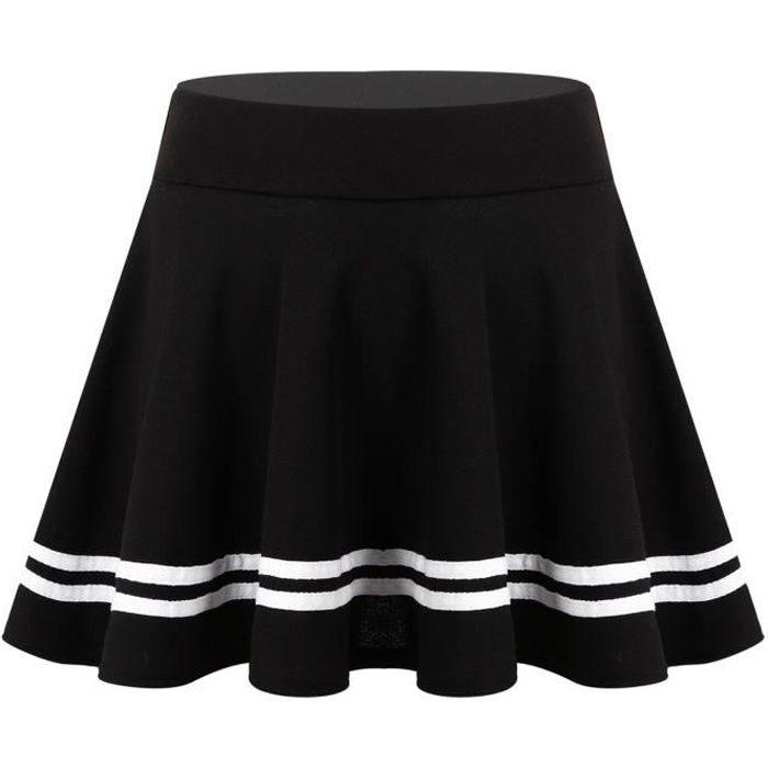 YIZYIF Femme Jupe Plissée Taille Haute Elastique Jupe Ecolière Evasée Courte Rayé Uniforme Scolaire S-XL Noir