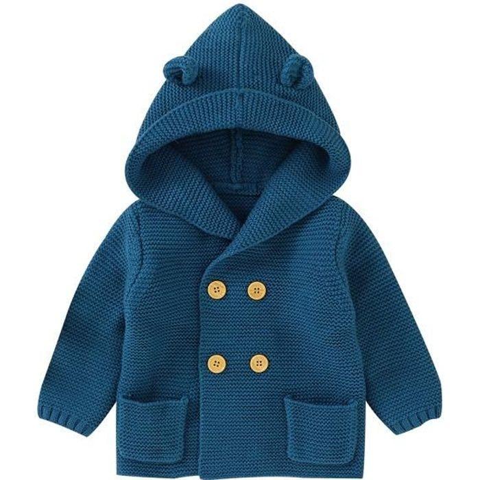 MINTGREEN Manteau Tricot Bébé Garçon Chaud Vêtement Manches Longues Chandail Capuche Hauts Cardigan Bleu