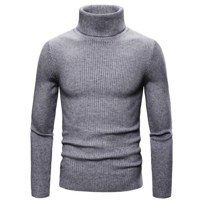 Chandail en tricot à revers haut pour homme Pull de couleur unie