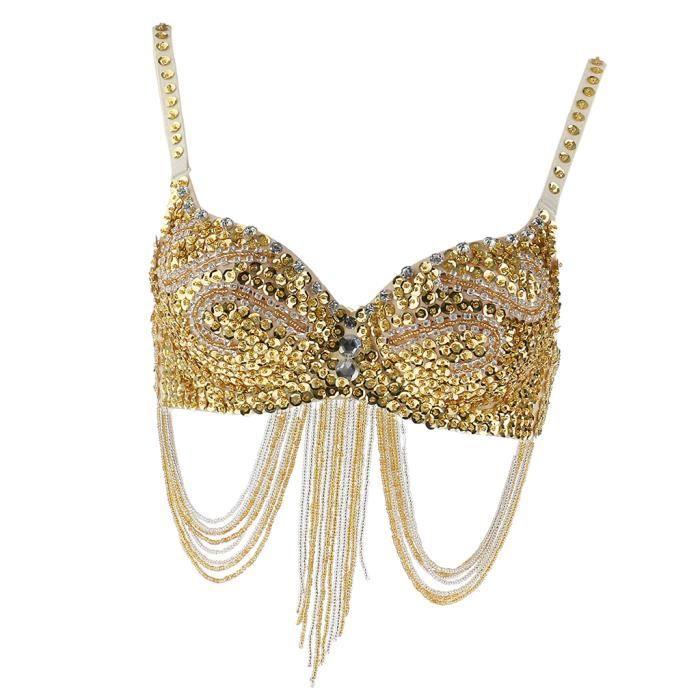 Soutien-gorge de Danse Orientale Paillette Perles Brillant à Frange Accessoire Performance Scène