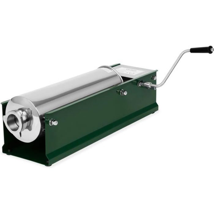 Vertes 7L Poussoir à Saucisses avec Cylindre en Acier Inox (4 Canules Ø 16, 22, 32 und 38 mm, 2 Vitesses, 3 Joints de rechange)