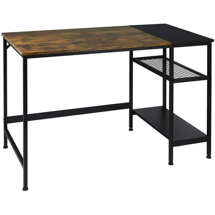 WOLTU Bureau industriel 2 étagères Table d'ordinadeur 120x60x75cm en Acier,Bois Vintage + Noir