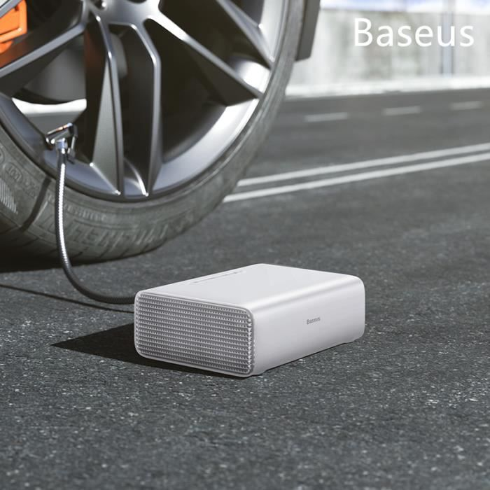 Baseus blanc Pompe portative de compresseur d'air de voiture de gonfleur de pneu pompe gonflable de pneu de 12 volts avec lumières d