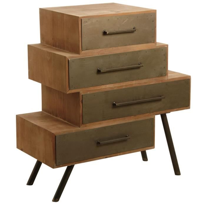 commode 4 tiroirs en m tal et bois 83 achat vente. Black Bedroom Furniture Sets. Home Design Ideas