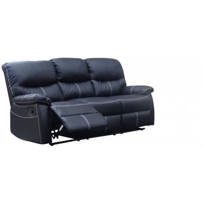 canap sofa divan canap 3 places relax noir joey - Canape 3 Places Relax