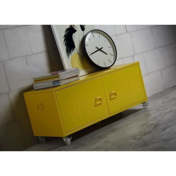beavis meuble tv 100 cm coffre m tal jaune achat vente caisson de bureau beavis meuble tv. Black Bedroom Furniture Sets. Home Design Ideas