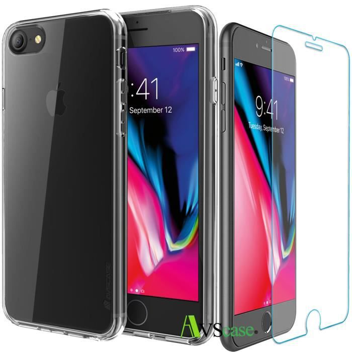 pack iphone 8 1 coque silicone 1 verre trempe